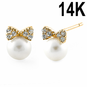 Solid 14K Yellow Gold Bow & Pearl Clear CZ Earrings