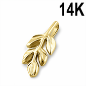 Solid 14K Yellow Gold Branch Pendant