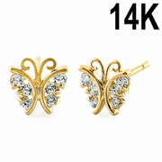 Solid 14K Yellow Gold Butterfly Clear CZ Earrings
