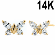 Solid 14K Yellow Gold Butterfly Marquise Cut Clear CZ Earrings