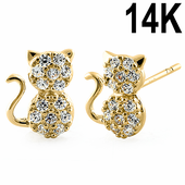 Solid 14K Yellow Gold Cat Clear CZ Earrings