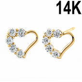 Solid 14K Yellow Gold Classic Heart Round Clear CZ Earrings