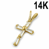 Solid 14K Yellow Gold Clear Baguette Straight Clear CZ Cross Pendant