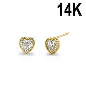 Solid 14K Yellow Gold Clear CZ Beaded Heart Stud Earrings