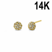 Solid 14K Yellow Gold Clear CZ Half Ball Stud Earrings