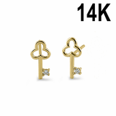 Solid 14K Yellow Gold Clover Key Clear CZ Stud Earrings