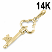 Solid 14K Yellow Gold Clover Key Pendant