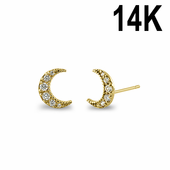 Solid 14K Yellow Gold Crescent Men Clear CZ Stud Earrings