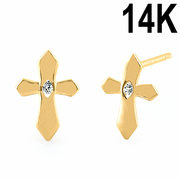 Solid 14K Yellow Gold Cross Clear CZ Earrings