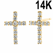 Solid 14K Yellow Gold Cross CZ Earrings