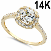 Solid 14K Yellow Gold Cushion Halo Engagement Clear CZ Ring