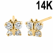 Solid 14K Yellow Gold Dainty Butterfly Clear CZ Earrings