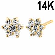 Solid 14K Yellow Gold Dainty Flower Clear CZ Earrings