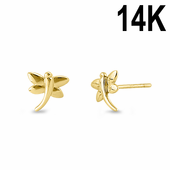 Solid 14K Yellow Gold Dragonfly Stud Earrings