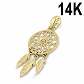 Solid 14K Yellow Gold Dreamcatcher Pendant