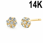 Solid 14K Yellow Gold Flower Cluster Clear CZ Earrings