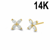 Solid 14K Yellow Gold Flower Marquise CZ Stud Earrings