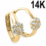 Solid 14K Yellow Gold Flower Round CZ Hoop Earrings