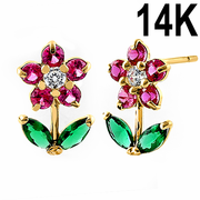 Solid 14K Yellow Gold Flower Ruby Emerald Clear CZ Earrings