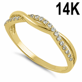 Solid 14K Yellow Gold Free Form Clear CZ Ring