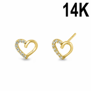 Solid 14K Yellow Gold Half CZ Heart Stud Earrrings