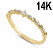 Solid 14K Yellow Gold Half Eternity Clear Round CZ Ring