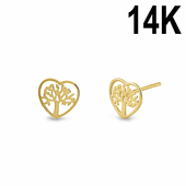 Solid 14K Yellow Gold Heart Tree of Life Stud Earrings