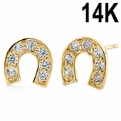 Solid 14K Yellow Gold Lucky Horseshoe Earrings