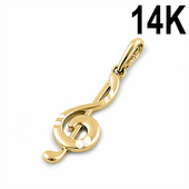 Solid 14K Yellow Gold Music Note Pendant