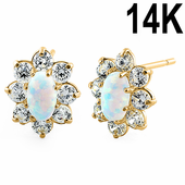 Solid 14K Yellow Gold Oval White Lab Opal & Clear CZ Earrings