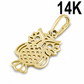 Solid 14K Yellow Gold Owl Pendant