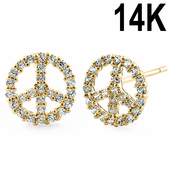 Solid 14K Yellow Gold Peace Clear CZ Earrings