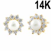 Solid 14K Yellow Gold Pearl Clear CZ Earrings