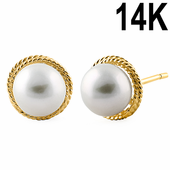 Solid 14K Yellow Gold Pearl Earrings