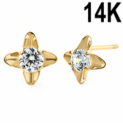 Solid 14K Yellow Gold Pinwheel Flower Clear CZ Earrings