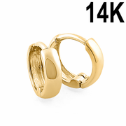Solid 14K Yellow Gold Plain Hoop Earrings