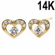 Solid 14K Yellow Gold Pristine Heart Round Clear CZ Earrings