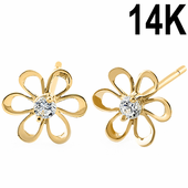 Solid 14K Yellow Gold Retro Flower Clear CZ Earrings