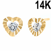 Solid 14K Yellow Gold Ridged Heart Round Clear CZ Earrings