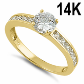 Solid 14K Yellow Gold Round 6mm Clear CZ Engagement Ring