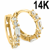Solid 14K Yellow Gold Round & Baguette Straight CZ Hoop Earrings