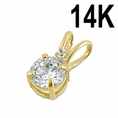 Solid 14K Yellow Gold Round Clear CZ Pendant