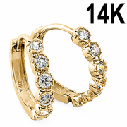 Solid 14K Yellow Gold Round CZ Hoop Earrings