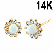 Solid 14K Yellow Gold Round White Lab Opal & Clear CZ Earrings