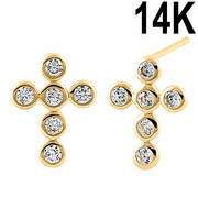 Solid 14K Yellow Gold Rounded Cross Clear CZ Earrings