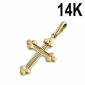 Solid 14K Yellow Gold Rustic Cross Pendant