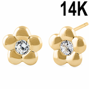 Solid 14K Yellow Gold Simple Flower Clear CZ Earrings