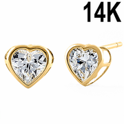 Solid 14K Yellow Gold 4mm Heart Cut Clear CZ Earrings