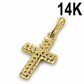 Solid 14K Yellow Gold Small Heart Cross Pendant