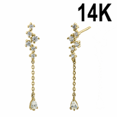 Solid 14K Yellow Gold Sparkle Clear CZ Pear Dangle Stud Earrings